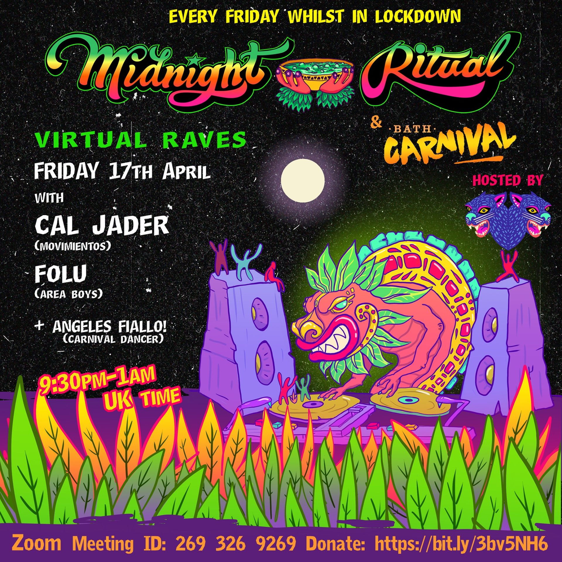 poster midnight ritual virtual rave